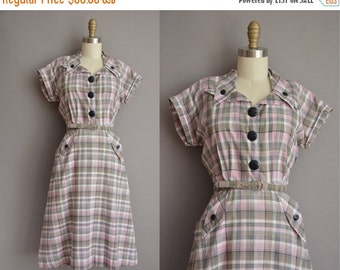 25% off SHOP SALE... 50s pink and gray plaid cotton vintage dress by Nancy Frock / vintage 1950s dress