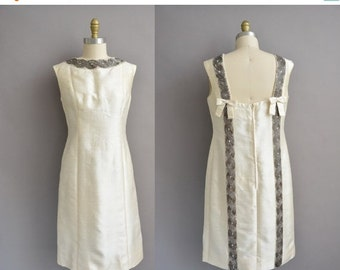 25% off SHOP SALE... Jean Lutece 60s ivory silk beaded bow vintage dress / vintage 1960s dress