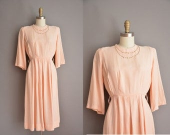 40s peach pink brass studded vintage dress / vintage 1940s dress