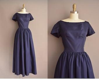 50s navy blue full length vintage party prom dress / vintage 1950s dress