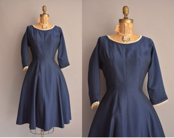 50s R&K navy blue vintage full skirt dress / vintage 1950s dress