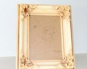 Wood & Gesso 5x7 Antique White Ornate Shabby Chic Picture Frame w/ Easel Stand