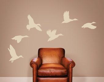 Ducks Wall Decal, Ducks Vinyl Wall Decal, Flying Ducks Wall Decal, Mallard Ducks Wall Decal