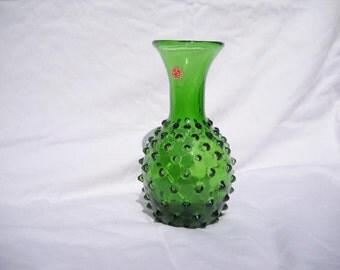 Vintage EMPOLI Italian Art Glass Vase, Seed pod, Hobnail Green