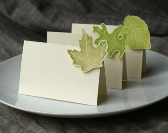Green Leaf - Summer Leaves - Place Card - Gift Card - Table Number Card - Menu Card -weddings events