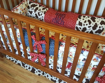 Cowpoke Custom 3 piece Western Crib Bedding Set using quality Michael Miller cotton fabric Can be personalized