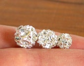 10pcs - 6mm 8mm 10mm Crystal Clear - Silver rhinestone ball charm pendant round beads metal findings 3D - PICK SIZE