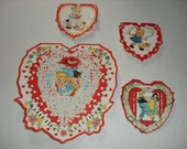 11)  Four Vintage Used Valentine Cards