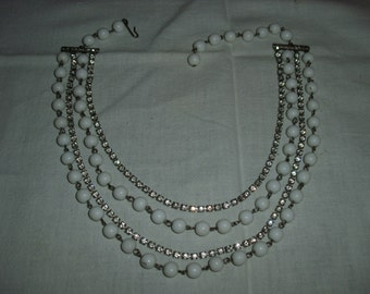 Vintage White Beads and Rhinestone Necklace
