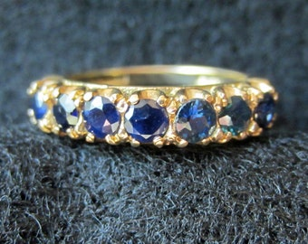 Vintage 9K Yellow English Gold 7 Stone Sapphire Ring Size 5.5
