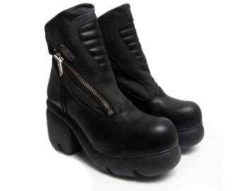 Cybergoth Platform Boots Vintage Womens Destroy Leather Boots Made In Spain Euro Sz 40-41 Fits Womens US Size 9