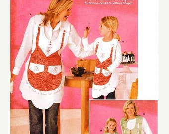 ON SALE Simplicity 4344 Apron Sewing Pattern -  Mother & Daughter Bib Aprons - All Sizes Pattern
