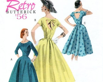 Sz 16/18/20/22 - Misses' Mid-Calf Dress with Open Back in 3 Options - Butterick Retro 1956 Reissued Pattern - Butterick Sewing Pattern B5605