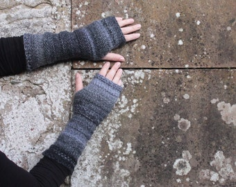 Arm warmers - gray black mittens - extra long, gift for her  fingerless gloves arm warmers, gift for her, knitwear UK