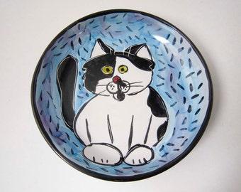 Tuxedo Cat Ceramic Feeding Dish Bowl Black White Clay Pottery Majolica Handmade on Blue
