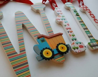 Nursery Wooden Letters for Baby Boy, ON THE GO Theme, Classic Color, Transportation, Cars, Trucks,  Hanging Name Sign, Construction