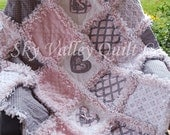 Pre CUT Rag Quilt KIT or Layer Cake~ pink and gray classics  Custom listing For Karen