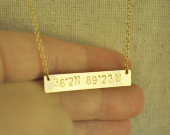 My Favorite Place Necklace - latitude longitude coordinates numbers handstamed gold bar necklace gift - simple everyday jewelry
