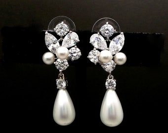 bridal earrings wedding jewelry platinum shell pearl earrings Clear white teardrop cubic zirconia cz post white round pearl crystal cluster
