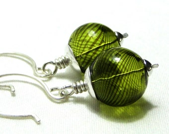 Handcrafted Earrings, Blown Glass Jewelry, Sterling Silver, Wire Wrapped Earrings, Olive Green