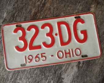 License Plate Ohio Vintage 1965 Rustic Garage, Industrial, Man Cave, Pub, Bar Decor, Barn, Wall Hanging, Home Decor