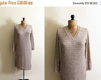 50% OFF SALE vintage dress 70s tan knit sweater 1970s gold striped retro womnes clothing size medium m