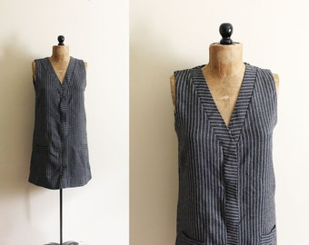 vintage dress 1960s mod shift grey gray pinstripe jumper office sophisticated clothing size medium m