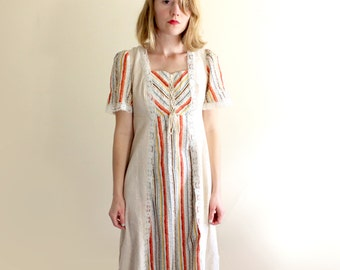 vintage dress 1960s womens clothing maxi prairie hippie oatmeal lace neutral stripes size xs s extra small