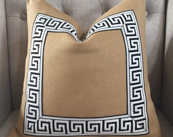 Solid heavy weight linen in wheat with attached greek key trim in black/ivory - Made to order