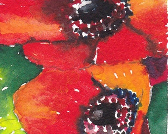 "Anemones - an original watercolor ACEO 2 1/2"" x 3 1/2"""