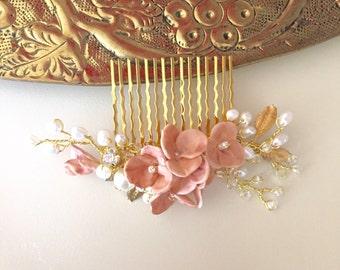 Blush Bridal hair comb, headpiece pearl hair comb , handmade, prom, dance