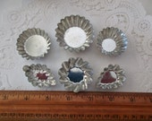 6 tiny scalloped pans -  candy molds, assemblage