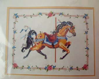 Vintage Carousel Horse counted crosstitch kit -new in package, Bernat, HO4171