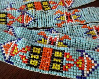 vintage beaded elastic headband - Native American, seed beads