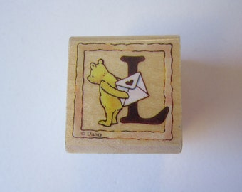 rubber stamp - Winnie the Pooh, letter L love stamp, All Night Media Disney 999WPL