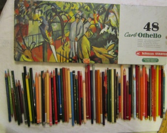 vintage colored pencils - Carb-Othello colored charcoal pencils, Prismacolor, Conte, and more - drawing pencils, artist supplies