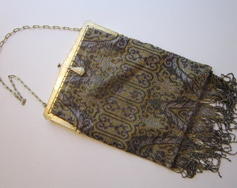 antique French cut steel beaded bag - made in France, patent date 1927 on frame - beaded fringe - silver, gold, and bronze steel beads