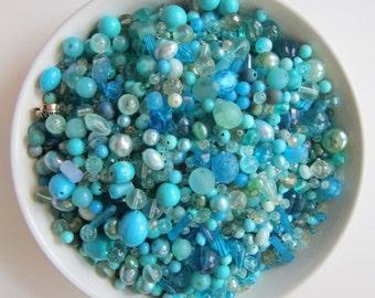 vintage bead mix - AQUA - 4 cups, vintage beads - aqua mix 2