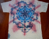 XL Sacred Geometry Steal Your Face Metatron's Cube Sri Yantra Hand Painted Chakra Tee shirt
