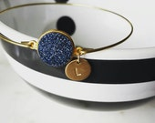 Personalized druzy bangle, modern pretty jewelry