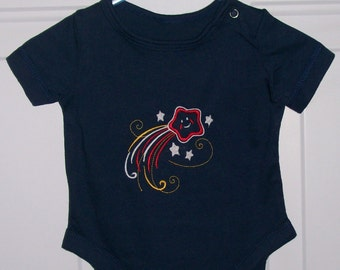 Navy Blue Bodysuit Upscaled with Embroidered Star Design Infant Size Newborn is Ready to Ship