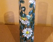 Daisy Glass Vase Hand-painted Bud Vase by Lisa Hayward