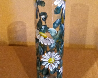 Daisy Glass Vase Hand-painted Bud Vase by Lisa Hayward