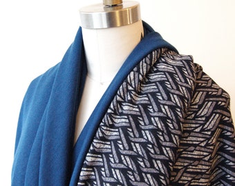 SALE! Cape Scarf Grey Abstract Print with Teal