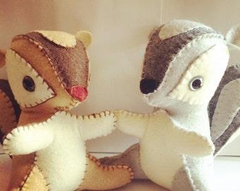 Felt squirrel stuffed animal