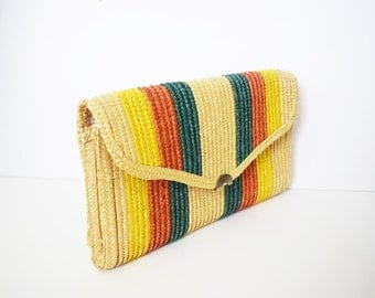 Vintage 1970s Stripe Straw Clutch / Large Straw Clutch / Multicolor Purse
