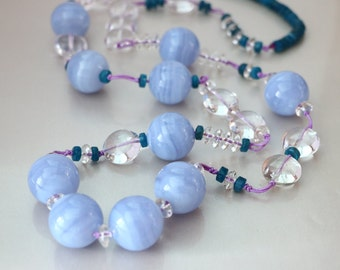 Blue Lace Agate Crystal Quartz Kyanite Chinese Knot Necklace, Chunky Necklace, Long Beaded Necklace, Blue White Necklace