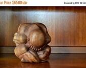 20% OFF SALE vintage handcarved wooden weeping buddha figurine