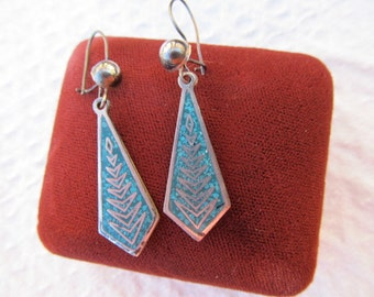 Antique Sterling Silver and Inlaid Turquoise Drop Dangle Wire Earrings-Made in Mexico