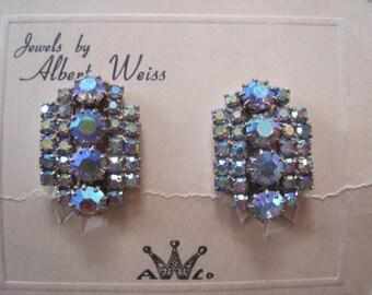 Vintage Weiss AB Rhinestone Clip on Earrings Bride Bridal Wedding